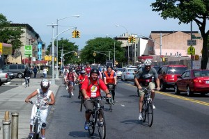 Looking northwest on Bushwick Avenue as Tour de Brooklyn approaches Aberdeen Street on a sunny morning. Photo by Jim.henderson